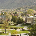 0704-01 GCS April 2007 BYU General Campus Scenics View from JFSB Patio, Bell Tower and Provo Temple, Spring April 6, 2007 Photo by Jaren Wilkey/BYU Copyright BYU Photo 2007 All Rights Reserved photo@byu.edu (801)422-7322