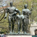Boy Scout Memorial - life size bronze statute of man, woman, and Boy Scout