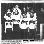 1965 newspaper photo of Plaintiff RR and brothers in acolyte clothes, singing at church
