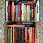two boxes of books about sexual abuse and assault